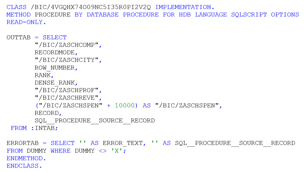 Basic Operations and Windows Function in AMDP