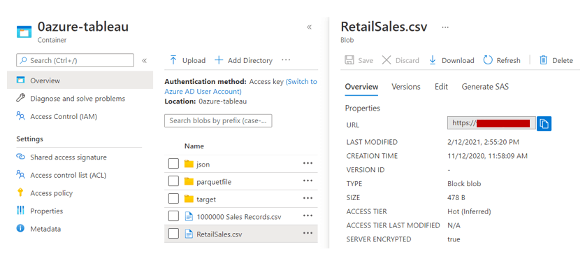Getting the File URL from the 'Properties' pane of the File in Azure portal